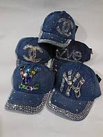 Джинсовая кепка подросток Стразы р-р 54.