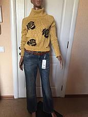 Свитер кофта  женский серый,желтый и сиреневый в черных розах,воротник хомут зима-осень Coconuda, фото 3
