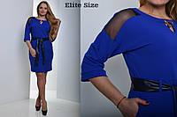 Женское платье Батал с кожаным поясом к-t6151141