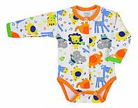"""Боди с длинным рукавом  """"Nasze zoo"""",  размер  68, цвет -  оранжевый."""