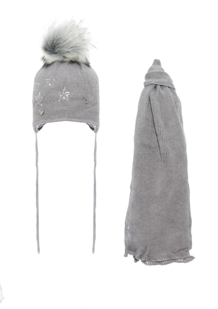 Детская зимняя вязаная шапочка с шарфиком AGBO Польша