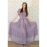 Платье длинное с рюшей - мелкий цветок купить