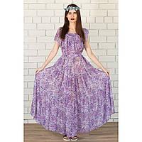 Платье длинное с рюшей - крупный цветок купить