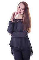 Женская стильная блузка с гипюром чёрного цвета