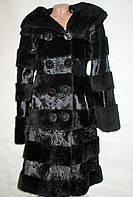 Шуба мутоновая, поперечка, натуральный мех мутон-каракульча-кожа турция 44-46р