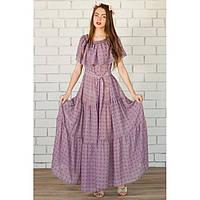 Платье длинное с рюшей - цветок в кубик купить