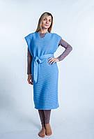 Платье вязаное голубое