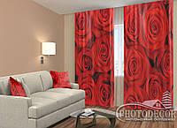 """ФотоШторы """"Красные розы"""" 2,5м*2,0м (2 половинки по 1,0м), тесьма"""