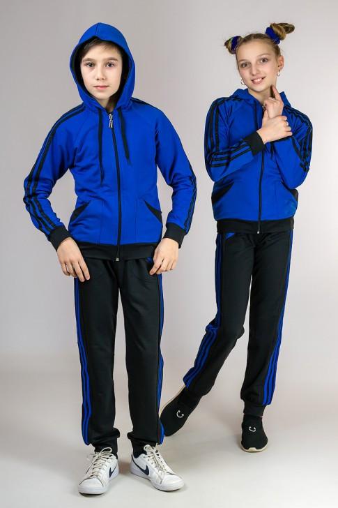Синий детский спортивный костюм для девочек модный трикотажный Турция