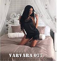 Красивая женская пижамка,отделка кружевом, цвет черный