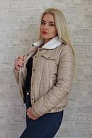 Женская куртка ткань синтепон 100 на подкладке воротник мех-мутон