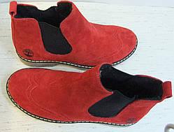 Женские красные ботинки в стиле Timberland натуральный замш  весна осень