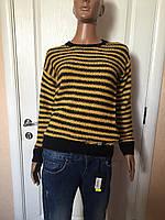 Свитер туника женский серый и желтый полосатый зима-осень Сoconuda