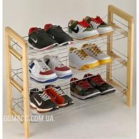Полка для обуви хром/дерево