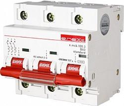 Модульний автоматичний вимикач e.mcb.stand.100.3.D63, 3р 63А, D, 10кА
