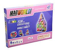 Магнитный конструктор MagWorld 42 детали пастельные цвета аналог Magformers