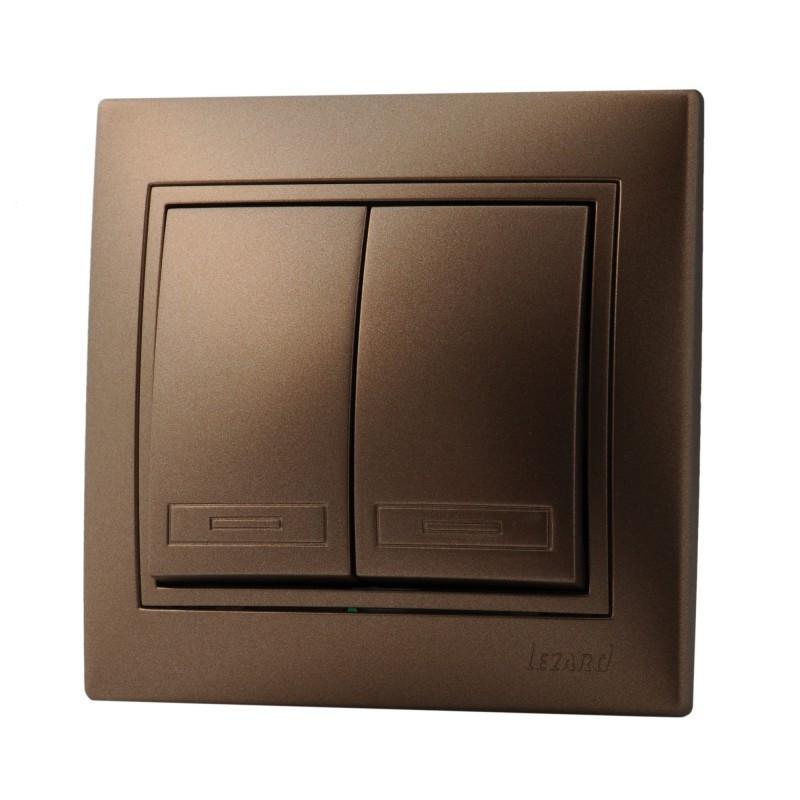 Выключатель двойной светло-коричневый Lezard Mira