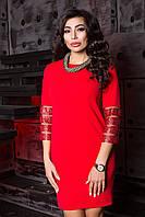 Нарядное Красное Платье Короткое с Интересным Рукавом XS-XL