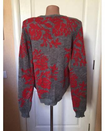 363630bc82181 Кофта свитер туника женская серая теплая серого цвета с красным орнаментом  зима-осень Coconuda,