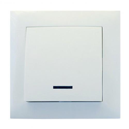 Выключатель 1-й с подсветкой RIGHT HAUSEN VELENA белый HN-011021
