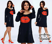 Черное свободное трикотажное платье с кожаной нашивкой - губки.  Арт-9908/41
