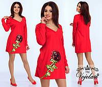 Шикарное красное платье с розой из пайеток.  Арт-9909/41