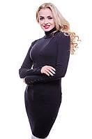 Женская стильная теплая водолазка чёрного цвета