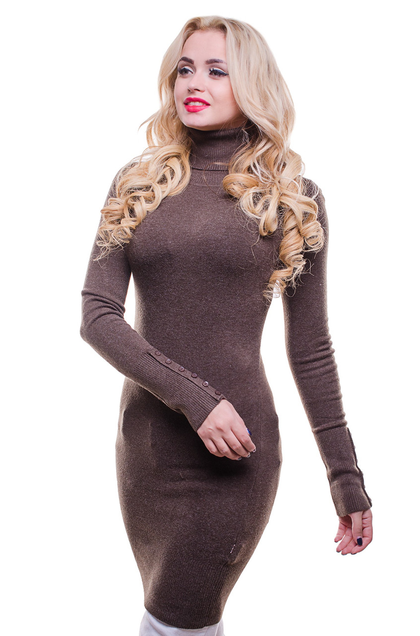 Женская стильная теплая водолазка коричневого цвета