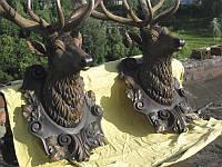 """Художественная резьба по дереву """"Голова оленя"""" из натурального дерева, ручная робота"""