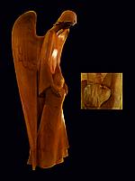 """Художественная резьба по дереву """"Ангел хранитель"""" из натурального дерева, ручная робота"""