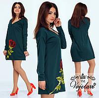 Шикарное зеленое  платье с розой из пайеток.  Арт-9909/41