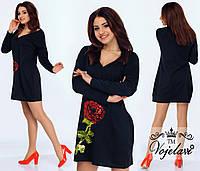 Шикарное черное  платье с розой из пайеток.  Арт-9909/41