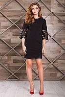 Нарядное Черное Платье Короткое с Интересным Рукавом XS-М
