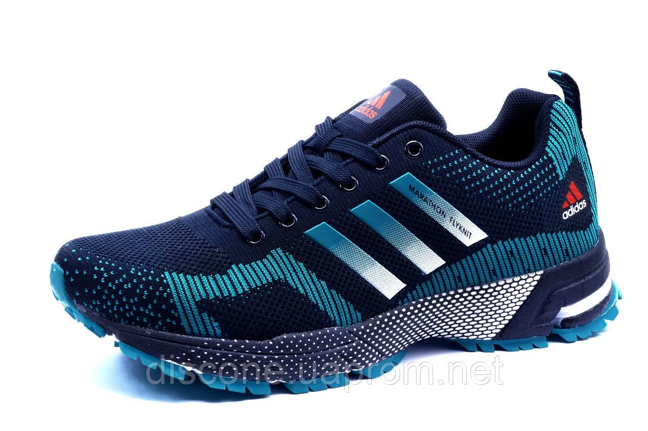 Кроссовки Adidas Marathon, мужские, темно-синие с голубым, р. 41 42 43 44 45 46