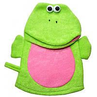 Мочалка Детская (перчатка игрушка ) жабка