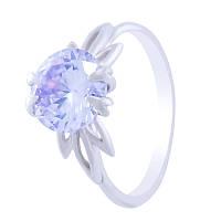 """Серебряное кольцо """"Кристалл"""" с сиреневым кубическим цирконием"""