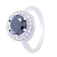 """Серебряное кольцо """"Испаньола"""" с черным кубическим цирконием"""