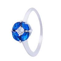 """Серебряное кольцо """"Вальс"""" с синими фианитами"""