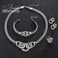 Ювелирный комплект Твой стиль цвет серебро 4 в 1, фото 1