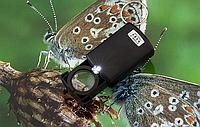 Лупа с подсветкой 21008, раздвижной корпус, LED-диод, стеклянная линза 20 мм, кольцо для подвеса, 37 г
