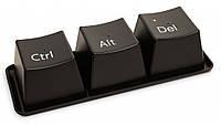 Горнятка Ctrl+Alt+Del, чорні (набір 3 шт. та піднос) / Чашки в форме компьютерных клавиш Ctrl Alt Del, черные