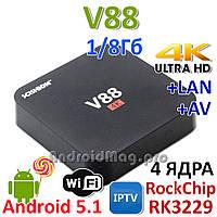 V88 Rock Chip RK3229 TV приставка  UHD