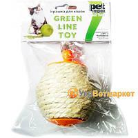 Игрушка для кошек Мячик сизалевый с перьями для корма, с кошачей мятой, NT12101, 8*9 см, Pet-Impex