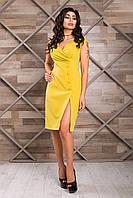 Эффектное Облегающее Платье с Разрезом Оливковое XS-2XL