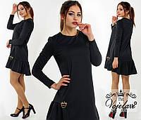 Женское черное платье свободного фасона с украшением.  Арт-9916/41