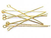 Пины с Петлей, Латунь, Цвет: золото, Размер: 40х0.5мм (70г, ок. 400 шт) 24_2_3а2
