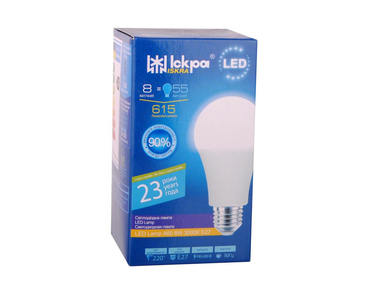 LED Lamp Іскра A60 220В 8Вт 3000K E27