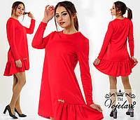 Женское красное  платье свободного фасона с украшением.  Арт-9916/41