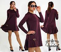 Женское  платье свободного фасона с украшением, цвет марсала.  Арт-9916/41