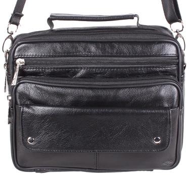 Кожаная мужская сумка BLACK40206, черная